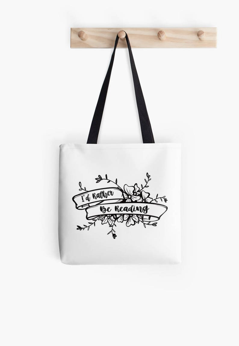 gift for book lovers, reading tote reading gift bookish gifts books tote bag eco friendly tote I/'d Rather be Reading Tote Bag