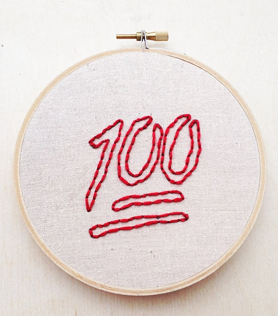 100 Emoji Embroidery Current Pop Culture Keep It 100 Hand Etsy