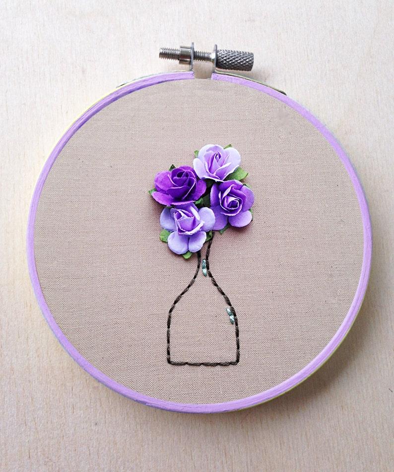 Paper Flower Hand Embroidery Hoop Floral Vase Bouquet Decor Flower Hand Embroidery Hoop Floral Home Decor Wedding Decor Spring Purple Decor
