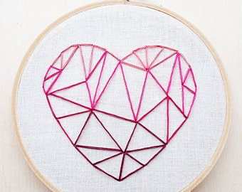 Geometric Heart Pink VALENTINES DAY Hand Embroidery Hoop Art Pink Ombre Art Geometric Wall Art Geometric Embroidery Valentines Embroidery