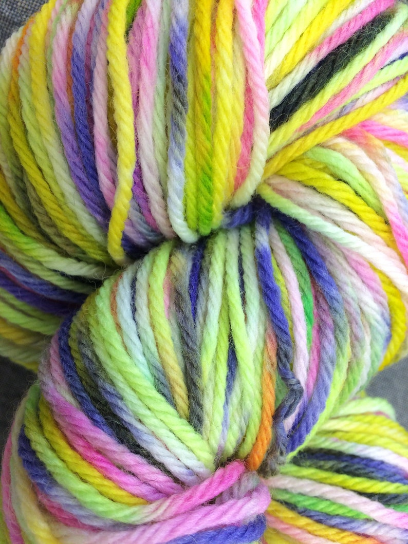 Fibers by Laura Worsted weight wool Flourescent Multicolored Hand Dyed Yarn