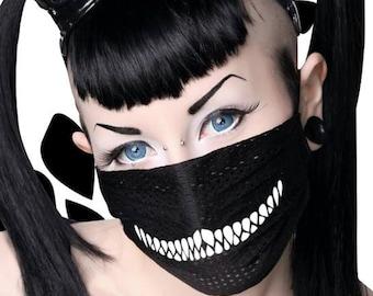 "Chill Pill ""Cheshire"" cat raver surgical mask Best Seller Goth Raver Kandi Halloween Rave Kawaii Burner Cosplay EDC Electric Daisy Carnival"
