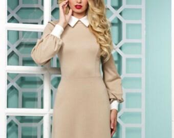 Beige long dress Contrast dress Peter Pan collar Maxi biege dress Long white dress long sleeves Autumn dress Dress for woman Spring dress