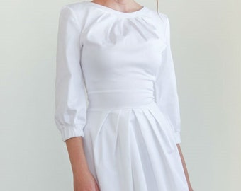 White Midi dress Stylish white dress Elegant dress Cotton dress Simple elegant white dress  Midi length  Trendy Casual  dress for women.