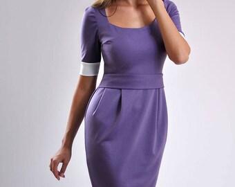 Purple Dress for Woman Simple Dress Jersey Dress Day Office Wear Secretary Dress Tricot dress Purple spring dress Summer dress
