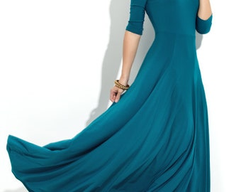 Maxi dress Jersey dress Turquoise dress for women Wedding maxi dress Dress  flared Airy maxi dress Turquoise bridesmaid dress Evening dress 060fc8fd31