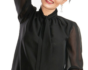 0c725a8cc5f Business clothes Black blouse Office blouse casual clothing chiffon blouse  Black Spring top summer clothing Casual blouse Shirt for woman