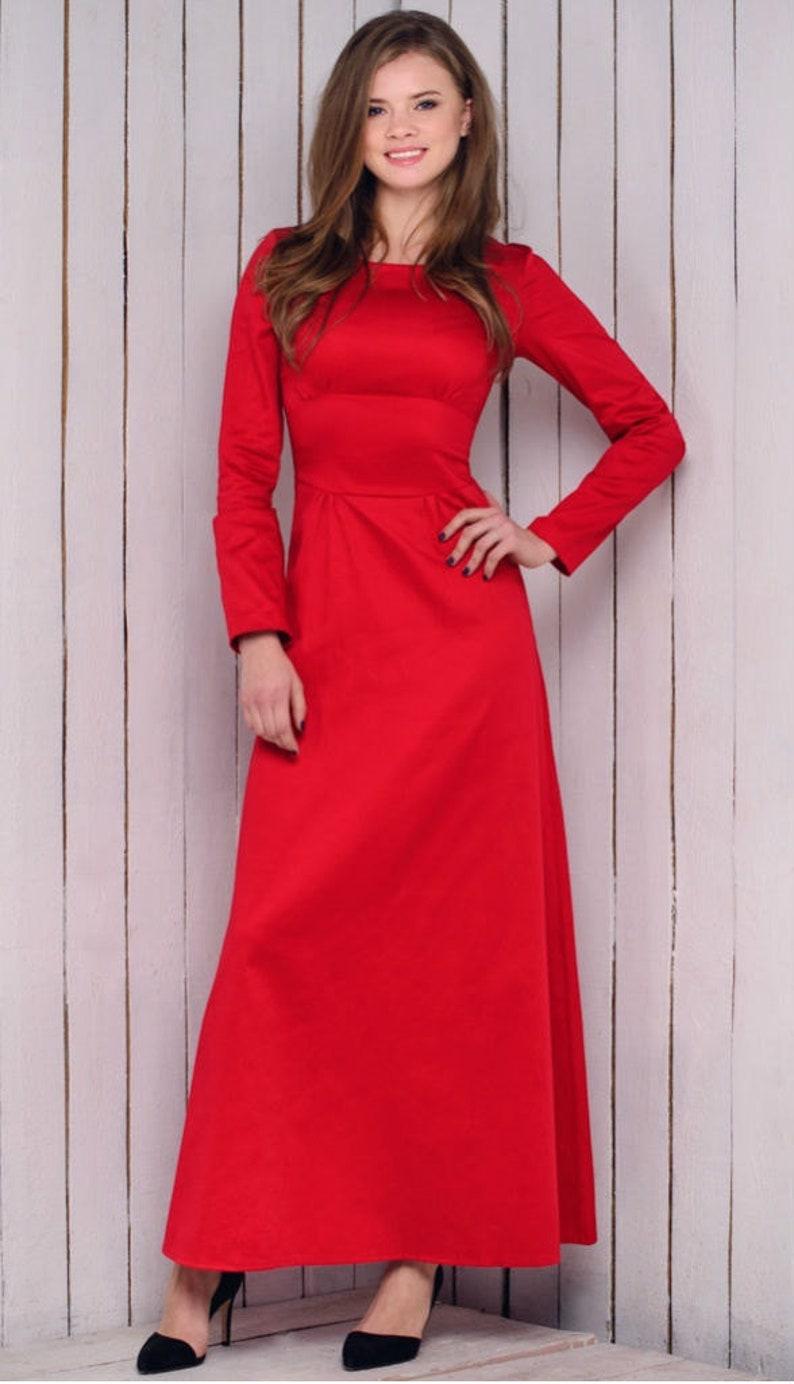 87a7937d47fc30 Lange rode jurk voorjaar jurk Prom jurk vloer val rode jurk