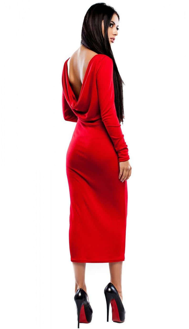 9cb61c1e58cec7 Rode jurk Open terug jurk herfst jurk rode jurk Sexy rode jurk