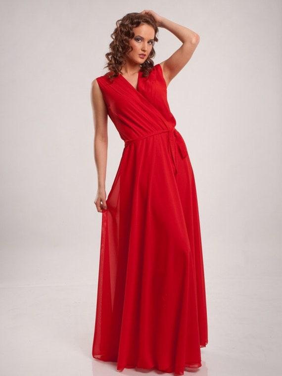 Red maxi dress Wedding dress Bridesmaids floor dress Summer dress Prom dress Chiffon dress Cocktail dress Evening Party dress for women