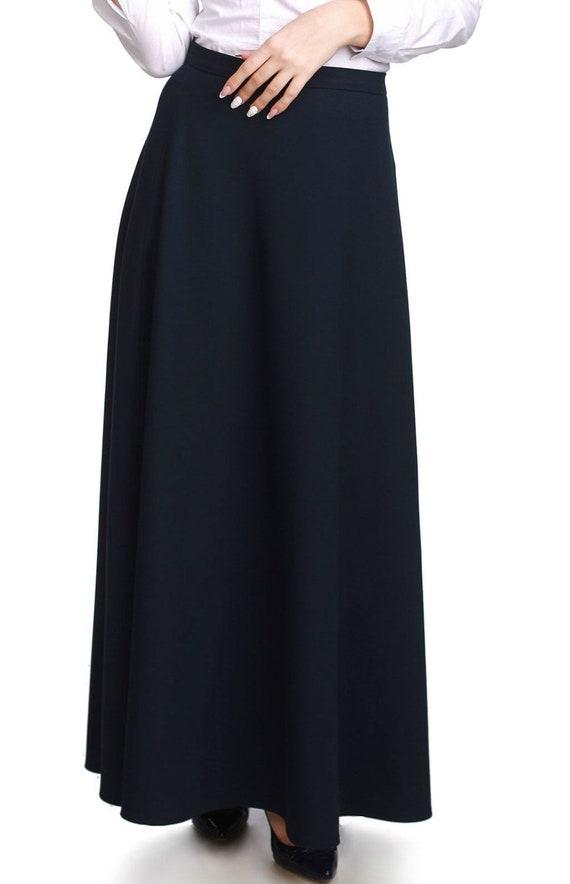 d958a9d7a2df Black skirt business Women skirt casual wear Maxi Skirt Long | Etsy