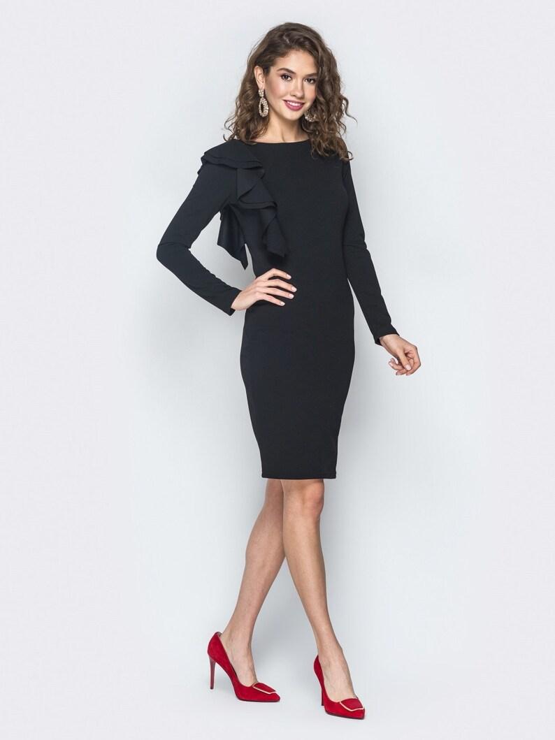 a89f290429 Nero vestito vestito di primavera per la donna ufficio affari | Etsy