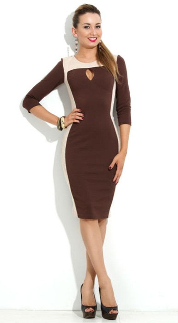 Elegant Dark Brown Dress Business Woman Clothing Chocolate Etsy