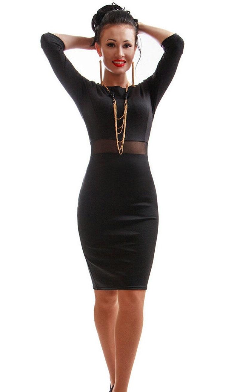 634d40dcd0 Semplice abito nero combinato elegante abito da sera cerimonia | Etsy
