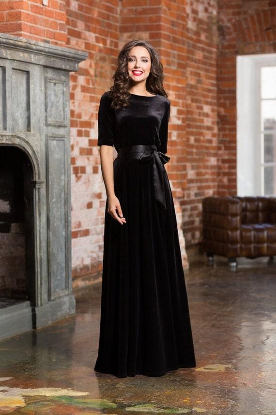 Black Dress Long Dress Velvet Maxi Dress Woman Autumn Dress Etsy