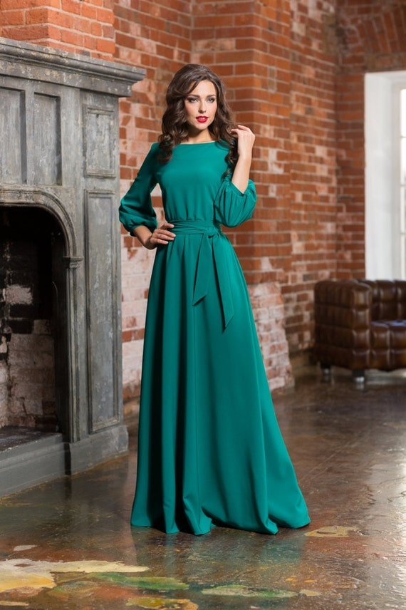Robe Longue Turquoise Robe Pour Femme Plancher Automne Etsy