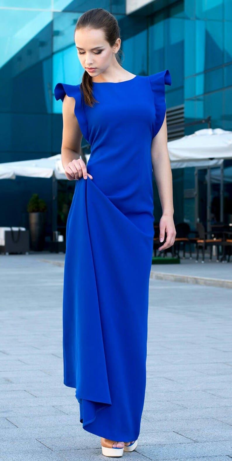 Lange HerfstEtsy Blue Voorjaar Jurk Maxi Royal Fl3JcKT1
