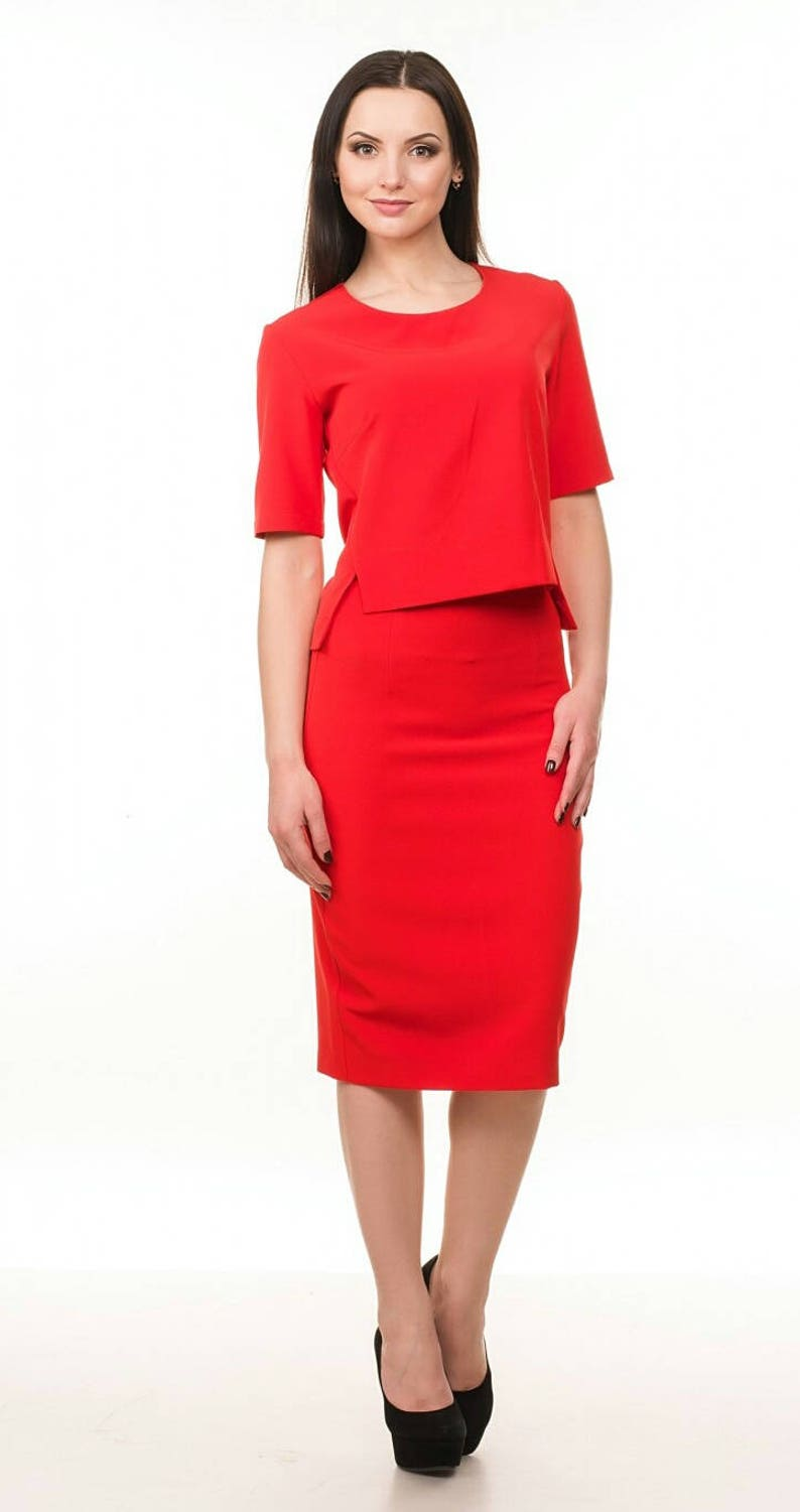Red suit Spring suit Skirt for woman Day to day clothes Office wear Red Blouse Pencil skirt Business woman suit Evening costume Party suit