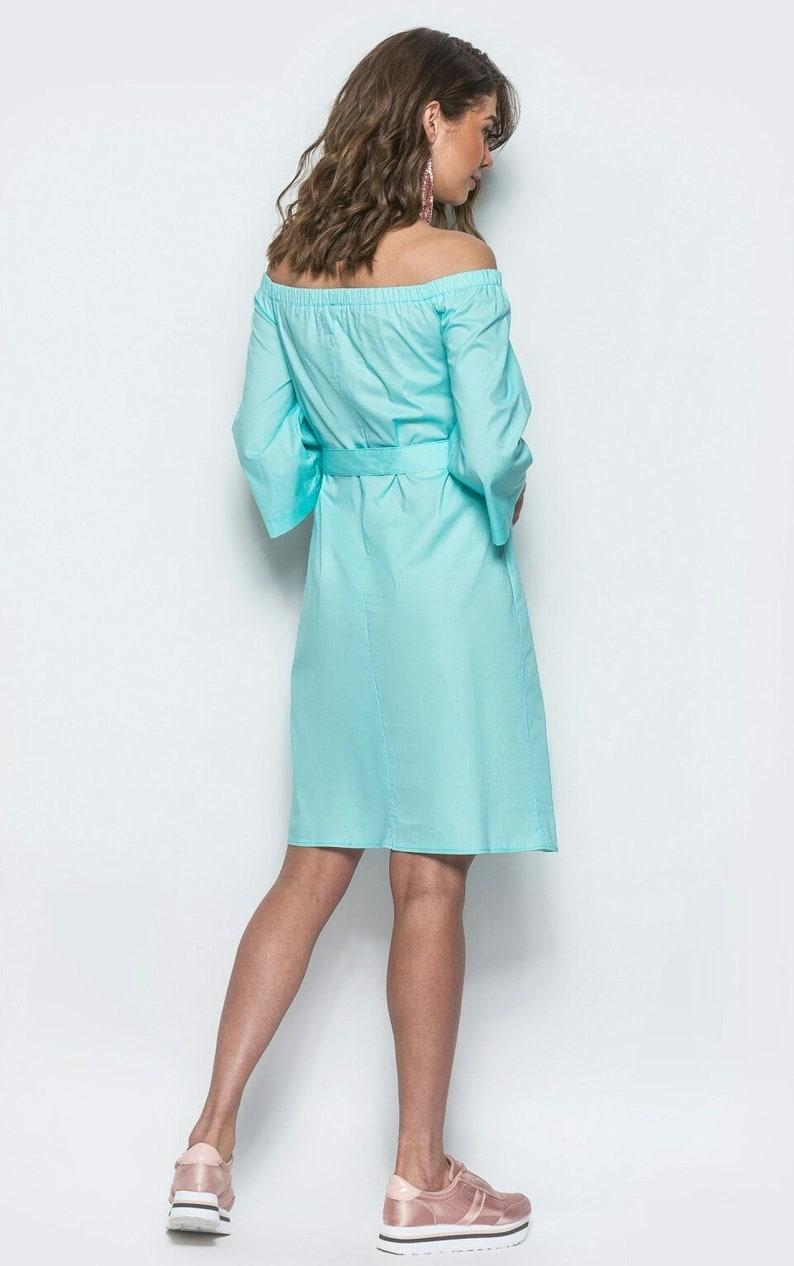Mint dress Spring Summer dress for woman Boho dress Dress open shoulders Knee dress Cotton Everyday halter evening dress Party dress