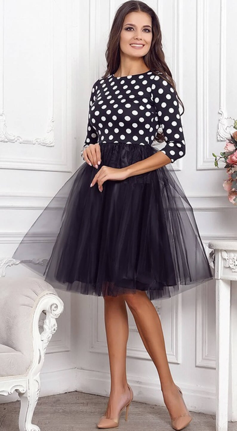 48133075e1ff Polka dot Tulle dress Party Cocktail dress Spring dress Summer