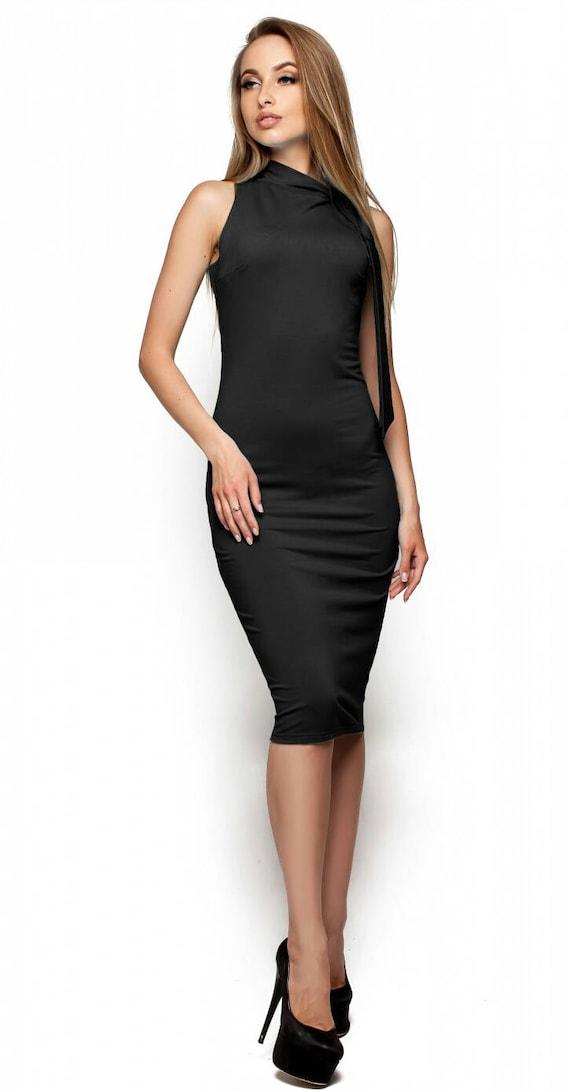 Beste Zwarte jurk Strakke jurk Herfstjurk Jersey jurk Zwarte jurk   Etsy OF-02