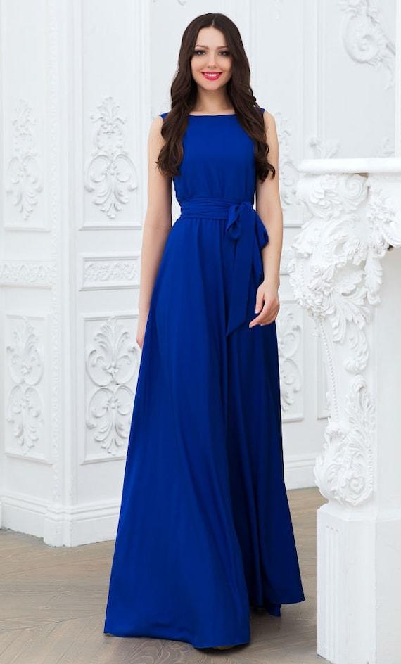 45a6d28eea7 Cobalt blue dress Maxi dress Long blue dress Dress with belt
