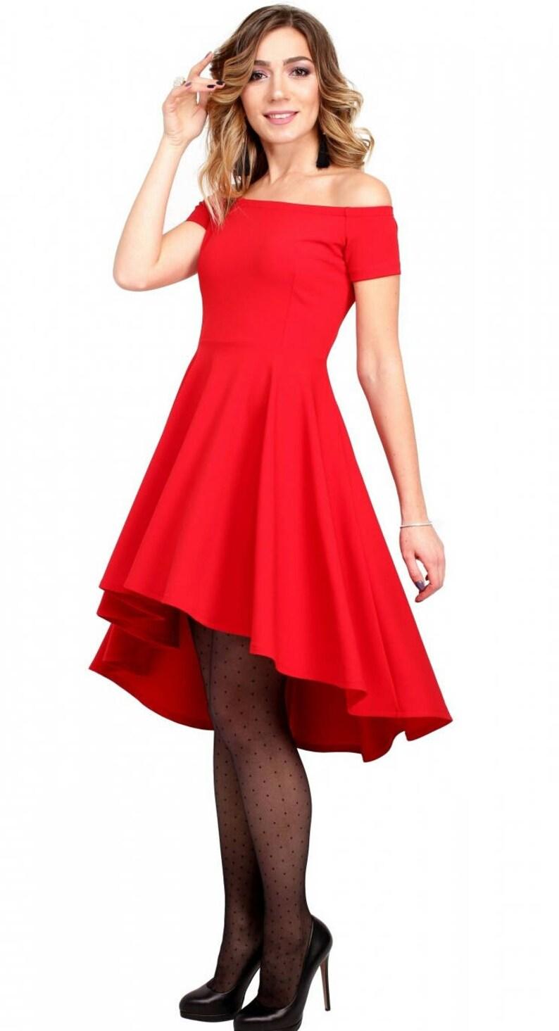 7e7e8f19e32c0e Rode jurk voorjaar dress asymmetrische jurk formele jurk rode