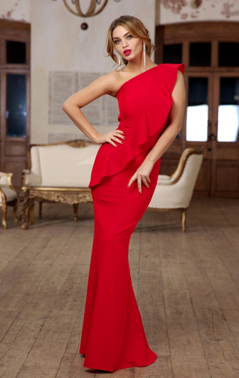 Red Maxi Dress Jersey Dress With One Shoulder Occasion Dress For Woman Long Elegant Dress Luxurious Dress Floor Dress Wedding Red Dress