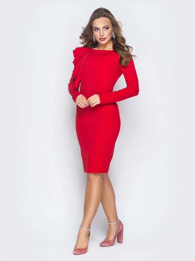 04eeac4e9e Red dress Spring dress for woman Office dress business woman