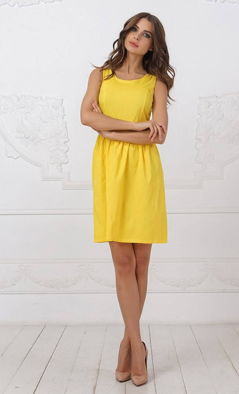 93fd0c9aff02 Yellow Summer dress Simple dress knee dress clotheng for women