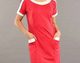 Red dress Contrast dress casual dresses Red office dress with pockets Business woman short sleeve dress Simple red dress Autumn Dress