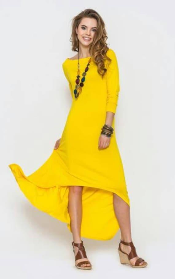 low cost 047dd 115f2 Vestito lungo giallo primavera dress estate asimmetrica abito vestito di  moda per donne nuova collezione Boho abito occasione vestito partito abito  da ...
