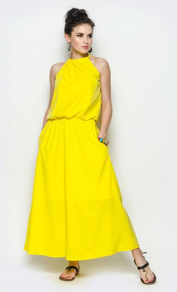 Gelb-Maxi-Kleid lange elegante Kleid Sommer Kleider für Frau   Etsy 94599a8921