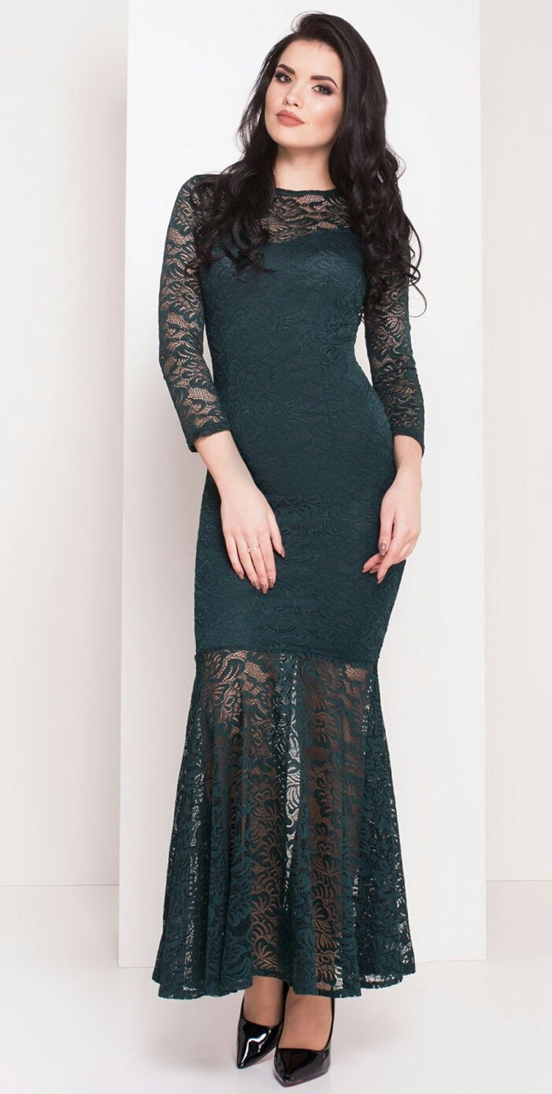 4951aea3e51 Dark green lace dress Dress floor Maxi dress for women Summer