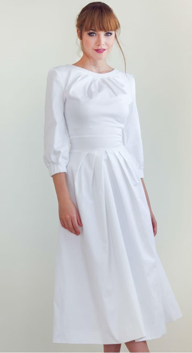 brand new e86ad 88973 Bianco elegante bianco Midi vestito abito vestito elegante cotone abito da  sposa lunghezza Midi semplice vestito bianco elegante abito alla moda ...