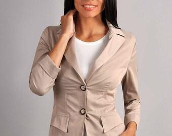Beige jacket Spring jacket Autumn jacket jacket with long sleeves Classic jacket for women Casual jacket Evening jacket Office jacket Coat