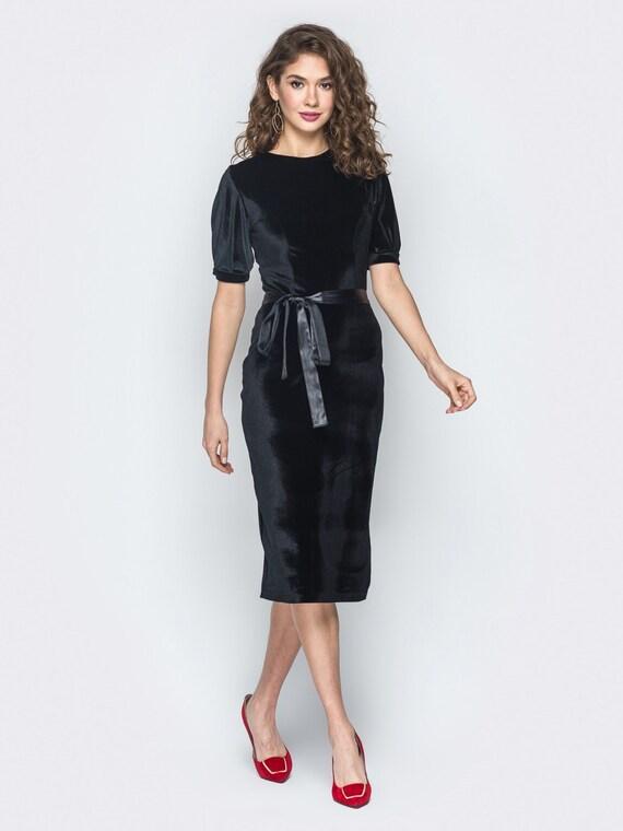 Midi black dress Velvet dress for women Spring dress Occasion dress Elegant dress Evening dress Wedding dress Party dress Occasion dress