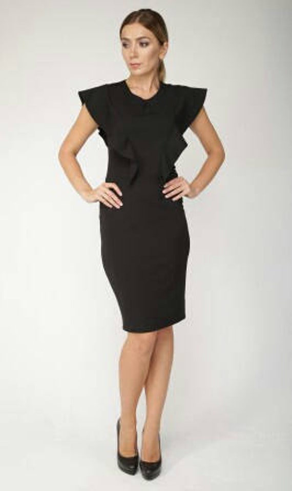 Black Dress Office Clothing For Women Business Woman Dress Etsy