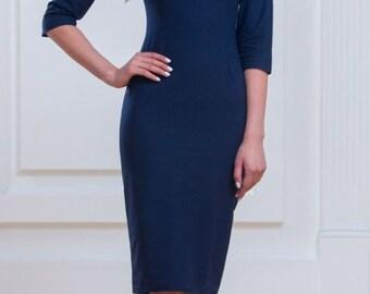 Dark blue dress Classic dress Everyday dress Office dress Business woman Simple dress Pencil Dress Occasion dress Evening dress for woman