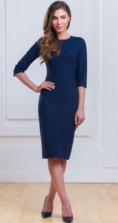 Robe classique bleu marine au quotidien robe Bureau affaires   Etsy 7649c98f5433