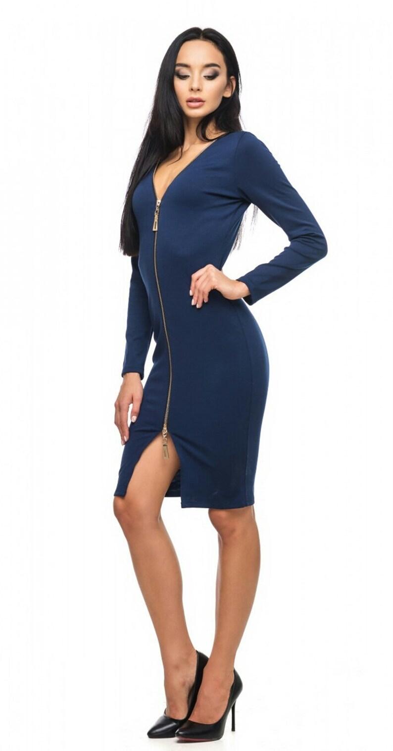 4836a8c71c0 Robe de soirée bleu marine robe Sexy Occasion robe robe genou