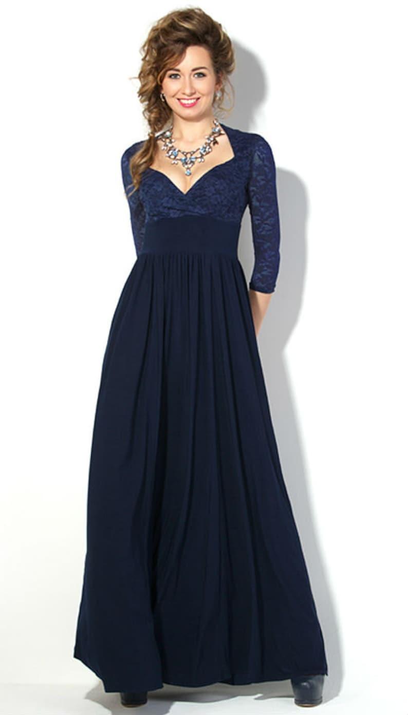 3c9e834fbc8fae Donker blauwe jurk lange vrouw jurk woord herfst jurk voorjaar