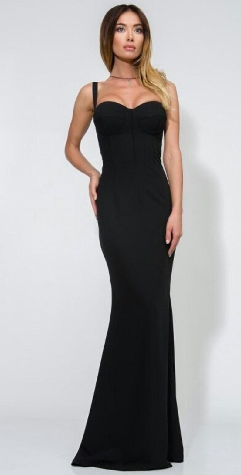 half off c622d 10505 Nero lungo abito Open spalle Sera abito elegante nero maxi abito nero abito  a pavimento Occasion Dress