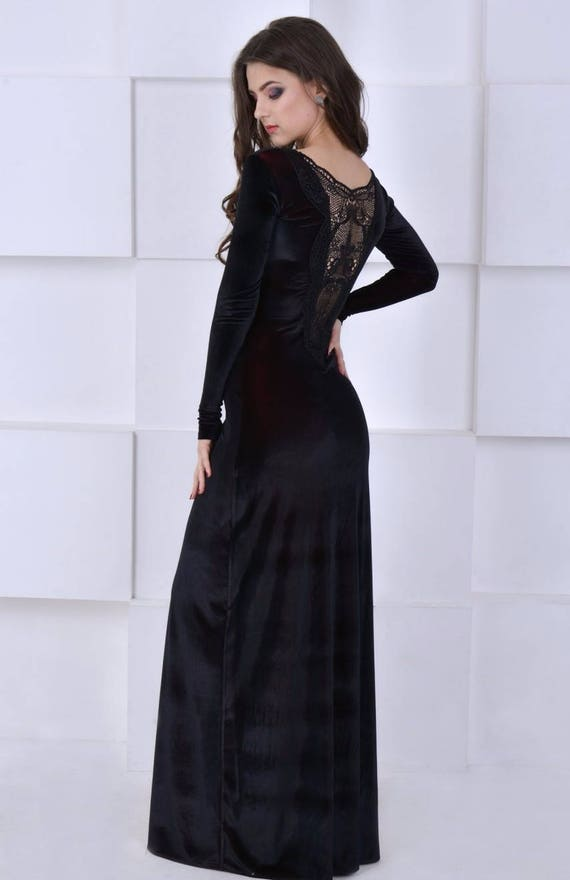 Black Long Dress Winter Velvet Dress Dress Floor Black Evening Etsy