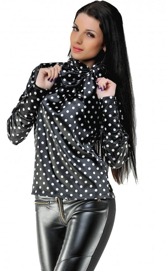 c27c876e7107c Elegant black blouse Office blouse Stand collar Satin Blouse