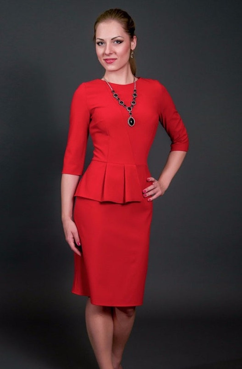 3b73ca7408 Red knee dress jersey dress Elegant dress with Basque Occasion