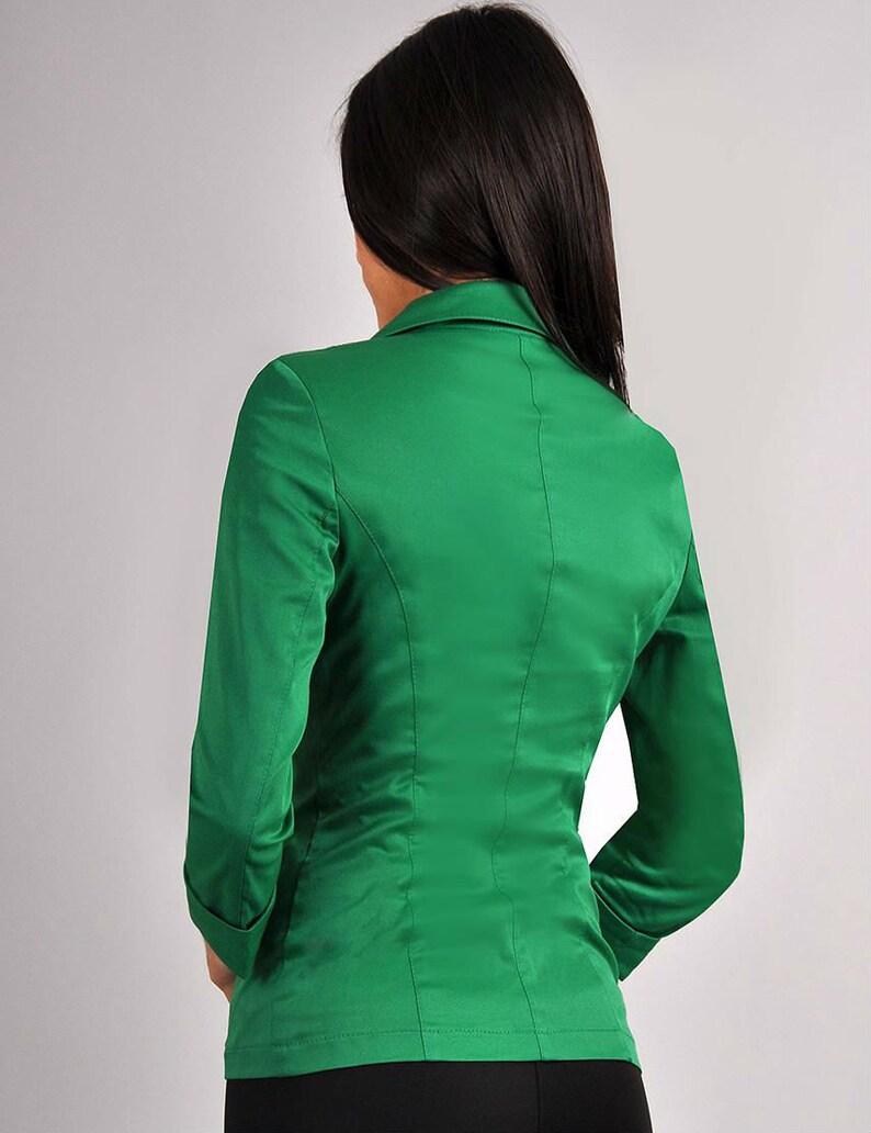 best cheap b7681 dcf06 Klassische grüne Jacke Jacke für Frauen Herbstjacke Jacke mit langen Ärmeln  Jacke mit Knöpfen Occasion JACKET Party grüne Jacke