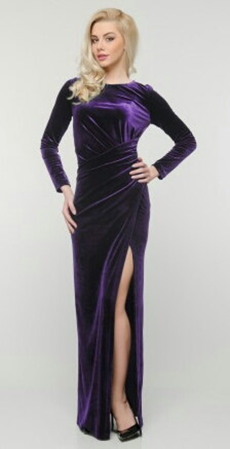 a777c1694ac470 Lange jurk van fluweel Maxi dress paars fluwelen