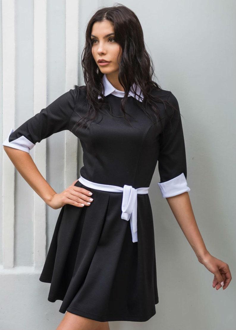 6e516100205 Robe noire Robe col Claudine contraste Jersey tous les jours