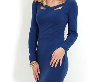 Blue dress Autumn dress Cobalt blue Dress Royal Blue dress office dress Evening dress business women dress party Jersey dress for woman
